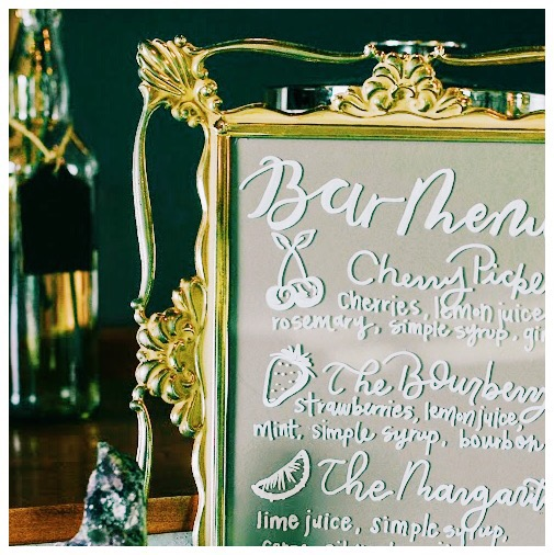 Specialty cocktails for wedding bar service. Craft cocktails, fresh juice cocktails. Served from specialty mobile bars.