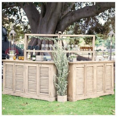 Specialty bar for weddings and special events made from reclaimed shutters
